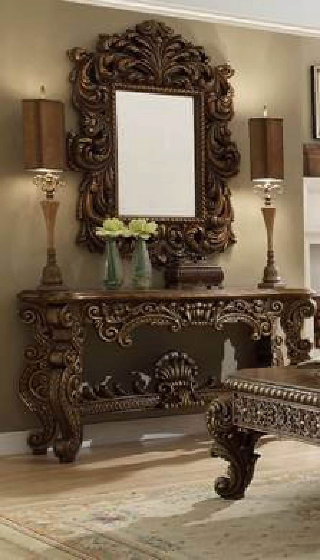 Traditional Rich HD-8011 Console Table in Brown by Homey Design