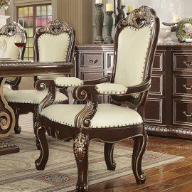 Traditional Classic HD-8013 Gilded Arm Chair in Brown by Homey Design