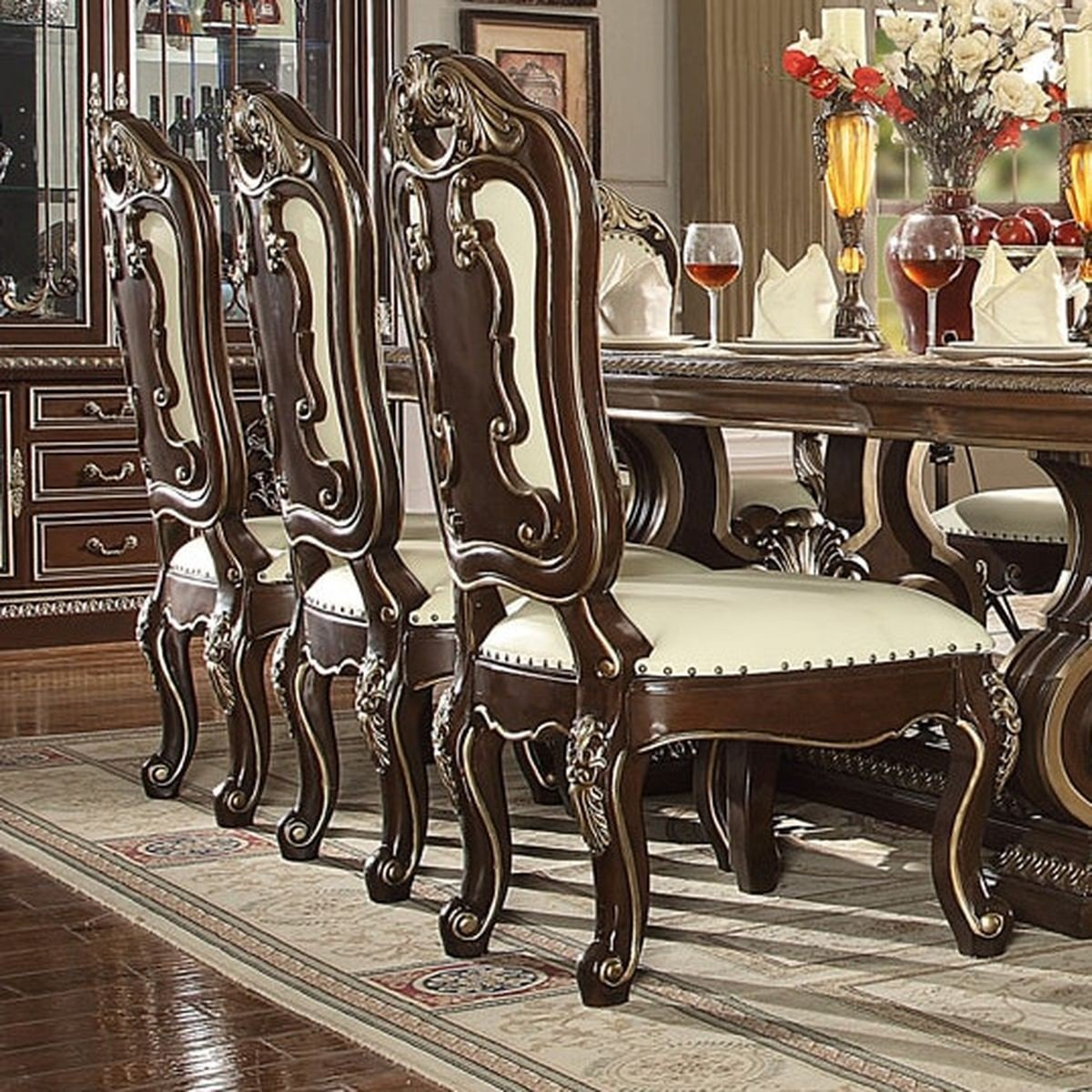 Traditional Classic HD-8013 Gilded Side Chair in Brown by Homey Design