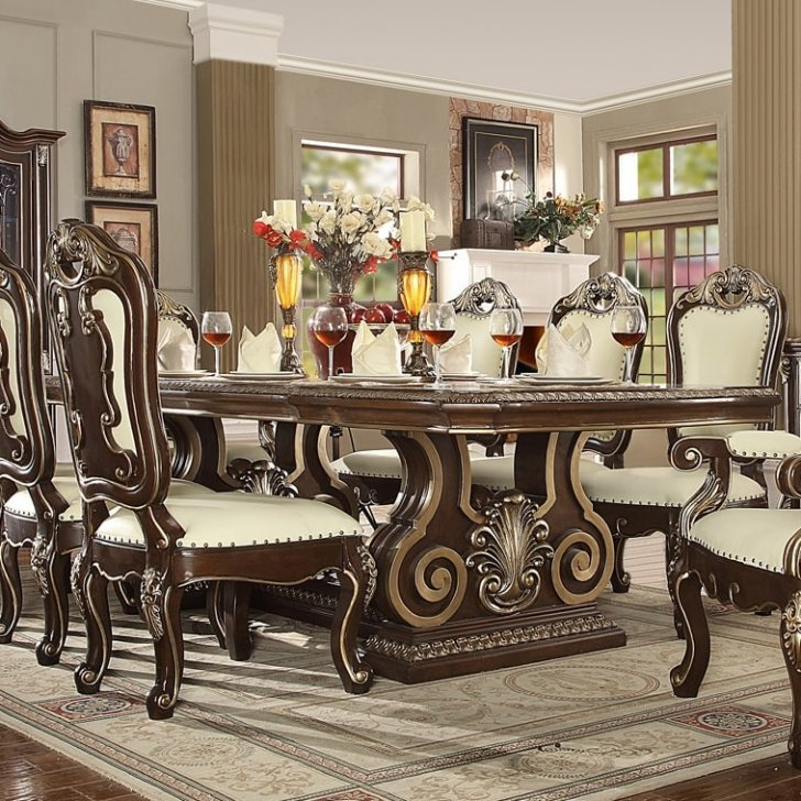 Traditional Classic HD-8013 Dining Table in Brown by Homey Design