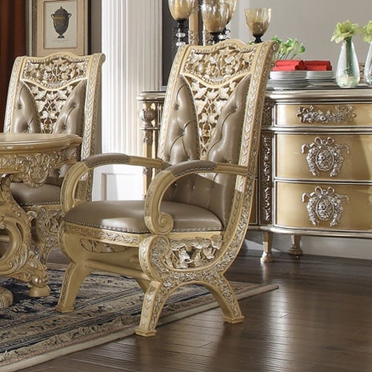 Traditional Classic HD-8015 Gilded Arm Chair in Beige by Homey Design