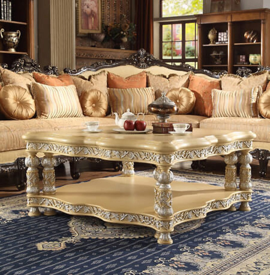 Traditional Classic HD-8015 Coffee Table in Beige by Homey Design