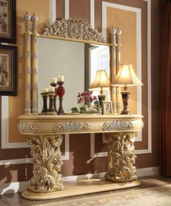 Traditional Classic HD-8015 Silvered Console Table in Gold by Homey Design