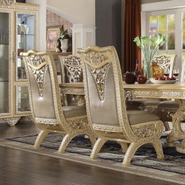 Traditional Classic HD-8015 Gilded Side Chair in Beige by Homey Design