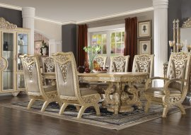 Traditional Classic HD-8015 Gilded Dining Table in Beige by Homey Design