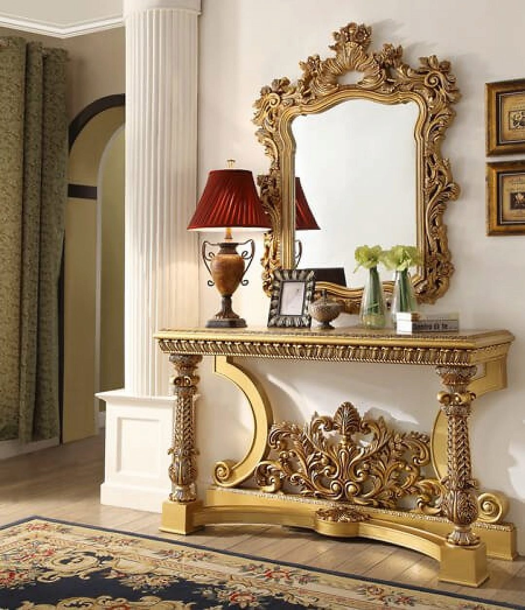 Traditional Royal HD-8016 Console Table in Gold by Homey Design
