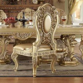 Traditional Royal HD-8016 Gilded Side Chair in Brown by Homey Design