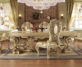 Traditional Royal HD-8016 Gilded Dining Table in Brown by Homey Design