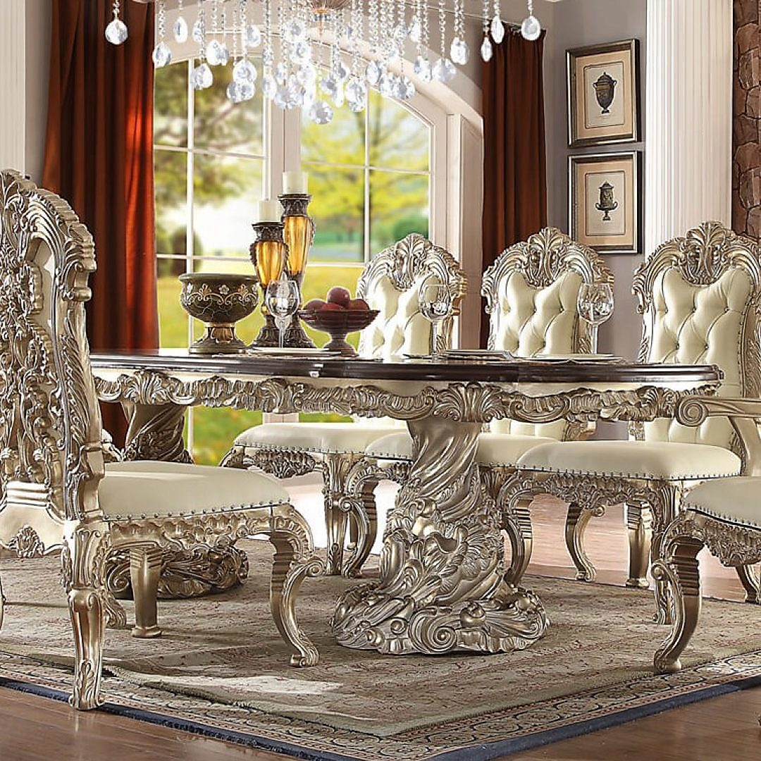 Traditional HD-8017 Dining Rectangle Table in Gold by Homey Design