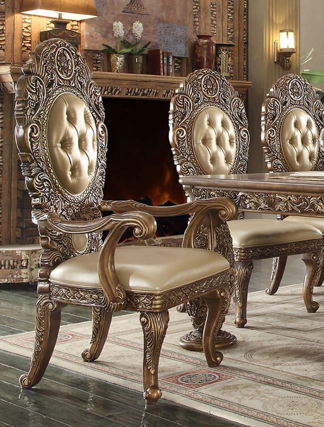 Traditional Classic HD-8018 Gilded Arm Chair in Beige by Homey Design
