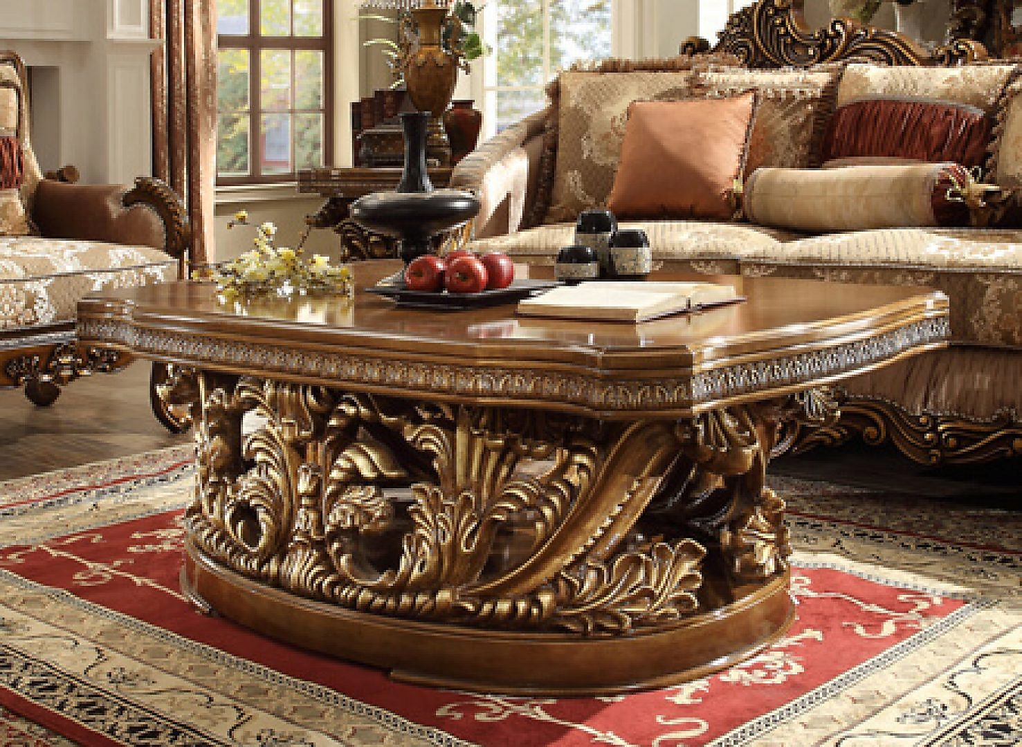 Traditional Classic HD-8018 Gilded Coffee Table in Brown by Homey Design