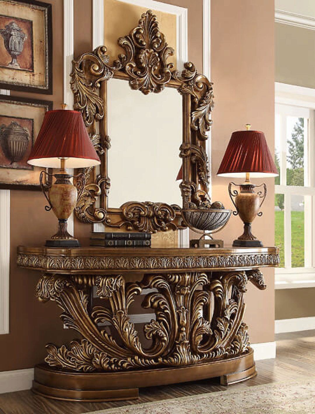 Traditional Classic HD-8018 Console Table in Brown by Homey Design