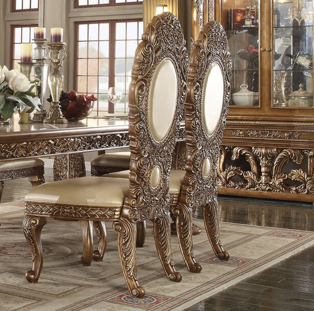 Traditional Classic HD-8018 Gilded Side Chair in Beige by Homey Design