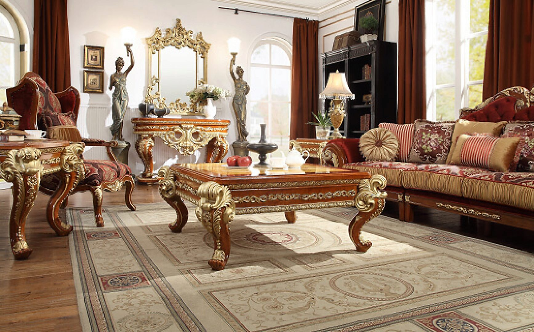 Traditional Luxury HD-8024 Gilded Coffee Table in Cherry by Homey Design