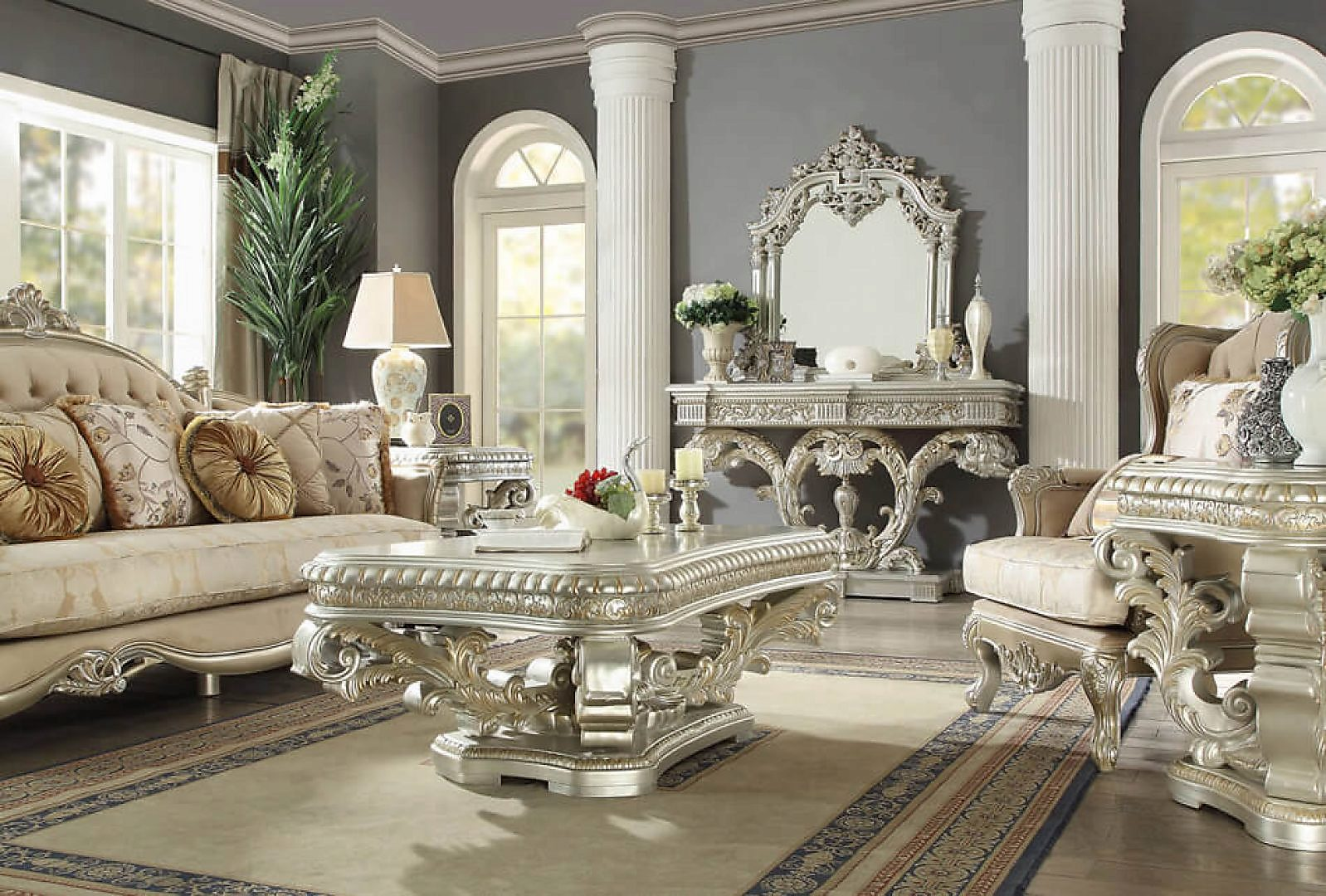 Traditional Rich HD-8088 Coffee Table in Gray by Homey Design
