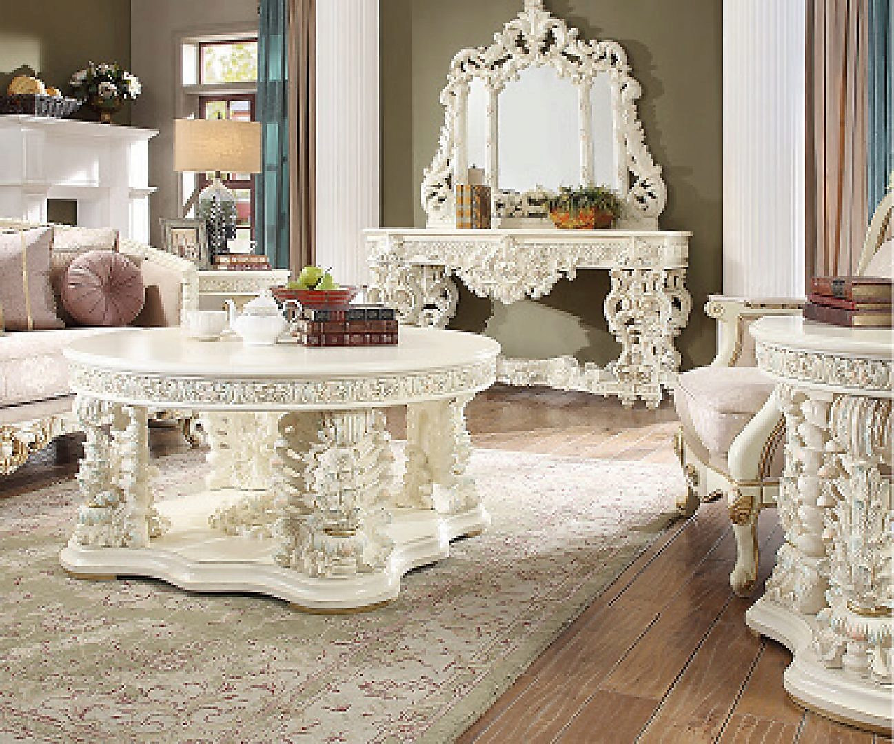 Traditional Antique HD-8089 Coffee Table in White by Homey Design