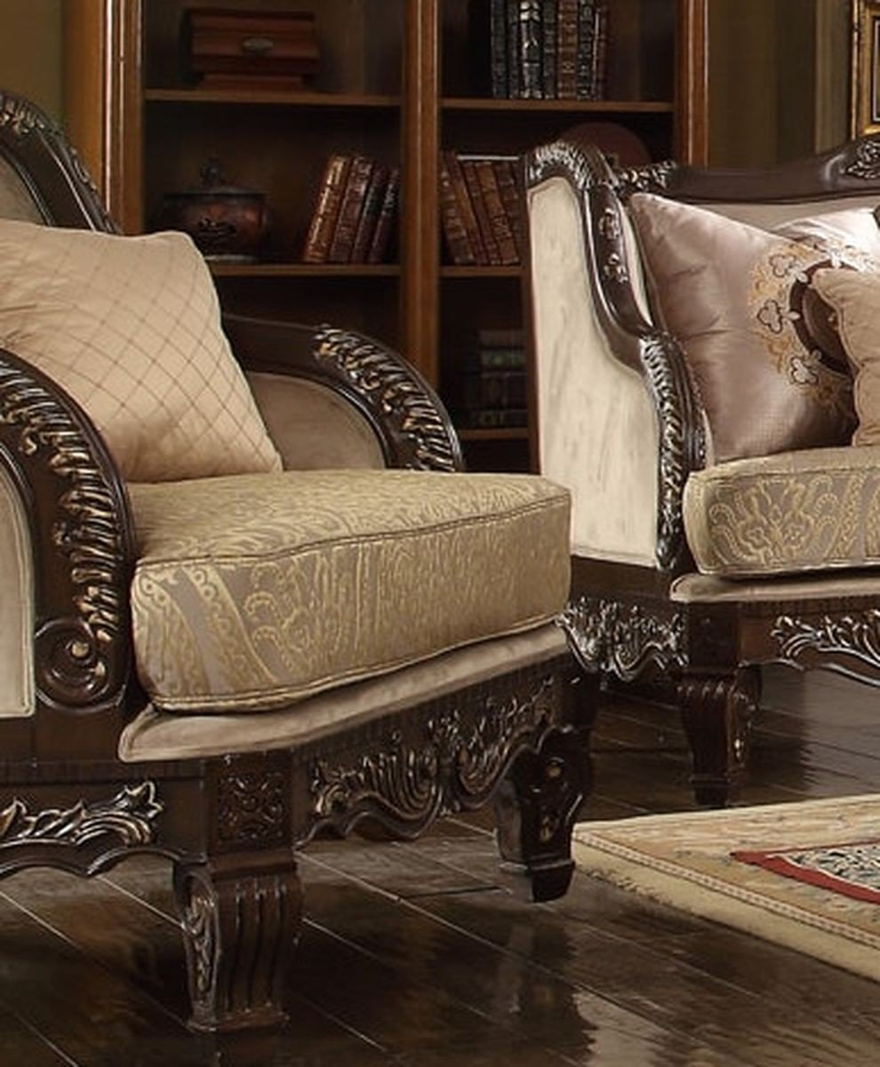 Traditional Luxury HD-914 Gilded Chair in Brown by Homey Design