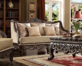 Traditional Luxury HD-914 Loveseat in Brown by Homey Design