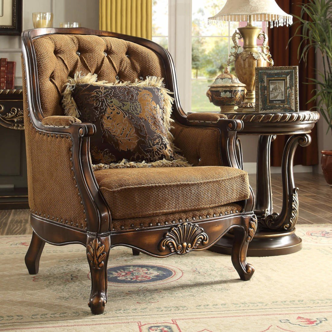 Traditional Luxury Royal HD-9344 Chair in Brown by Homey Design
