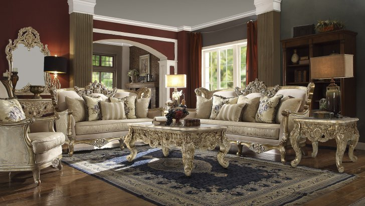 Traditional Living Room Set 3 PCS in Yellow Fabric Traditional Style Homey  Design HD-04