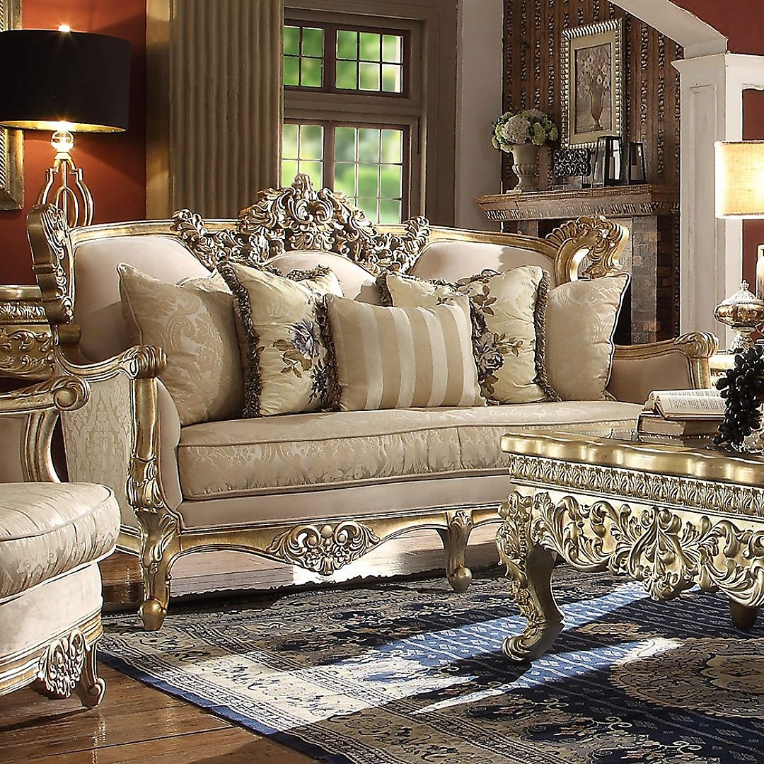 Traditional Loveseat in Yellow Fabric Traditional Style Homey Design HD-04