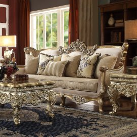 Traditional Sofa in Yellow Fabric Traditional Style Homey Design HD-04