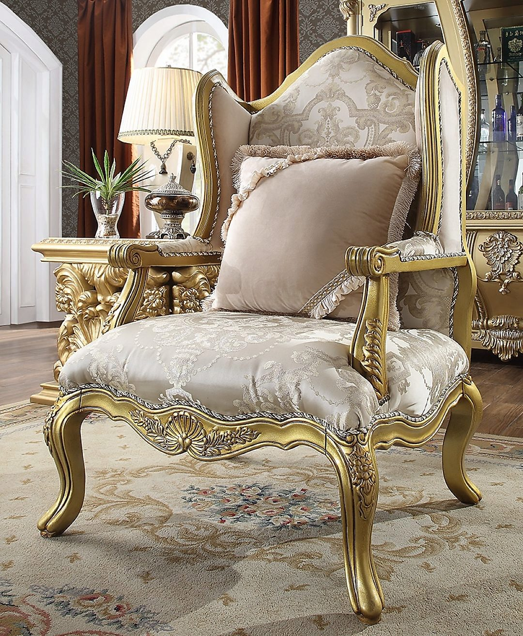 Traditional Chair in Yellow Fabric Traditional Style Homey Design HD-105