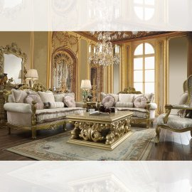 Traditional Living Room Set 3 PCS in Yellow Fabric Traditional Style Homey Design HD-105
