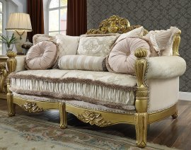 Traditional Loveseat in Yellow Fabric Traditional Style Homey Design HD-105