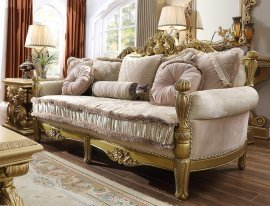 Traditional Sofa in Yellow Fabric Traditional Style Homey Design HD-105