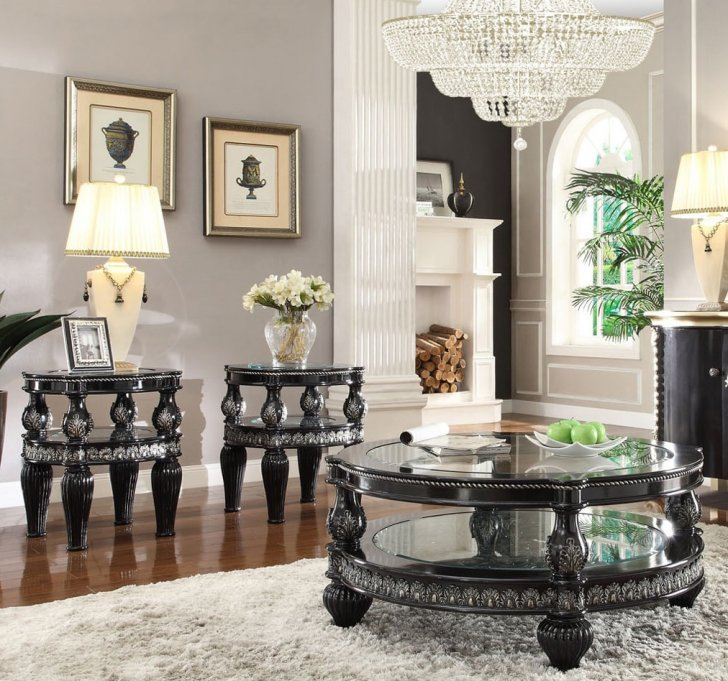 Traditional Coffee Table Set 3 Pcs In Black Wood Traditional Style Homey Design Hd 1208