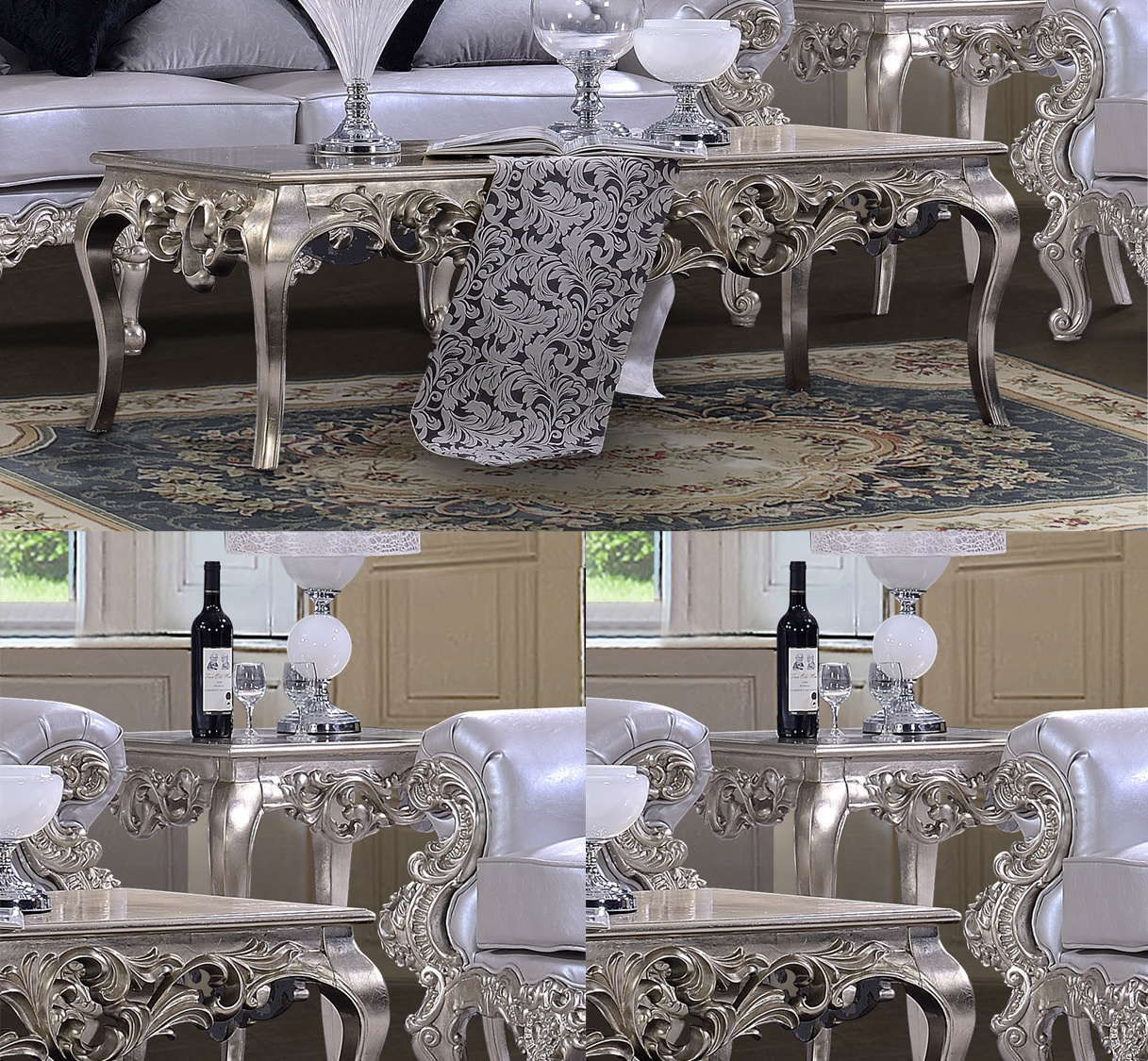 Traditional Coffee Table Set 3 PCS in Gray Wood Traditional Style Homey Design HD-13006