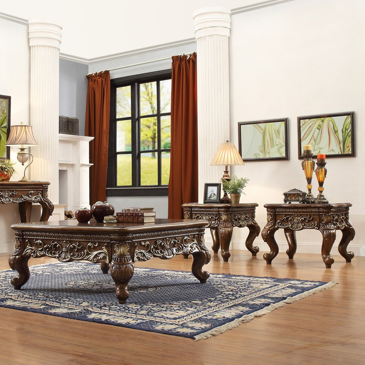 Traditional Coffee Table Set 3 PCS in Brown Wood Traditional Style Homey Design HD-1306