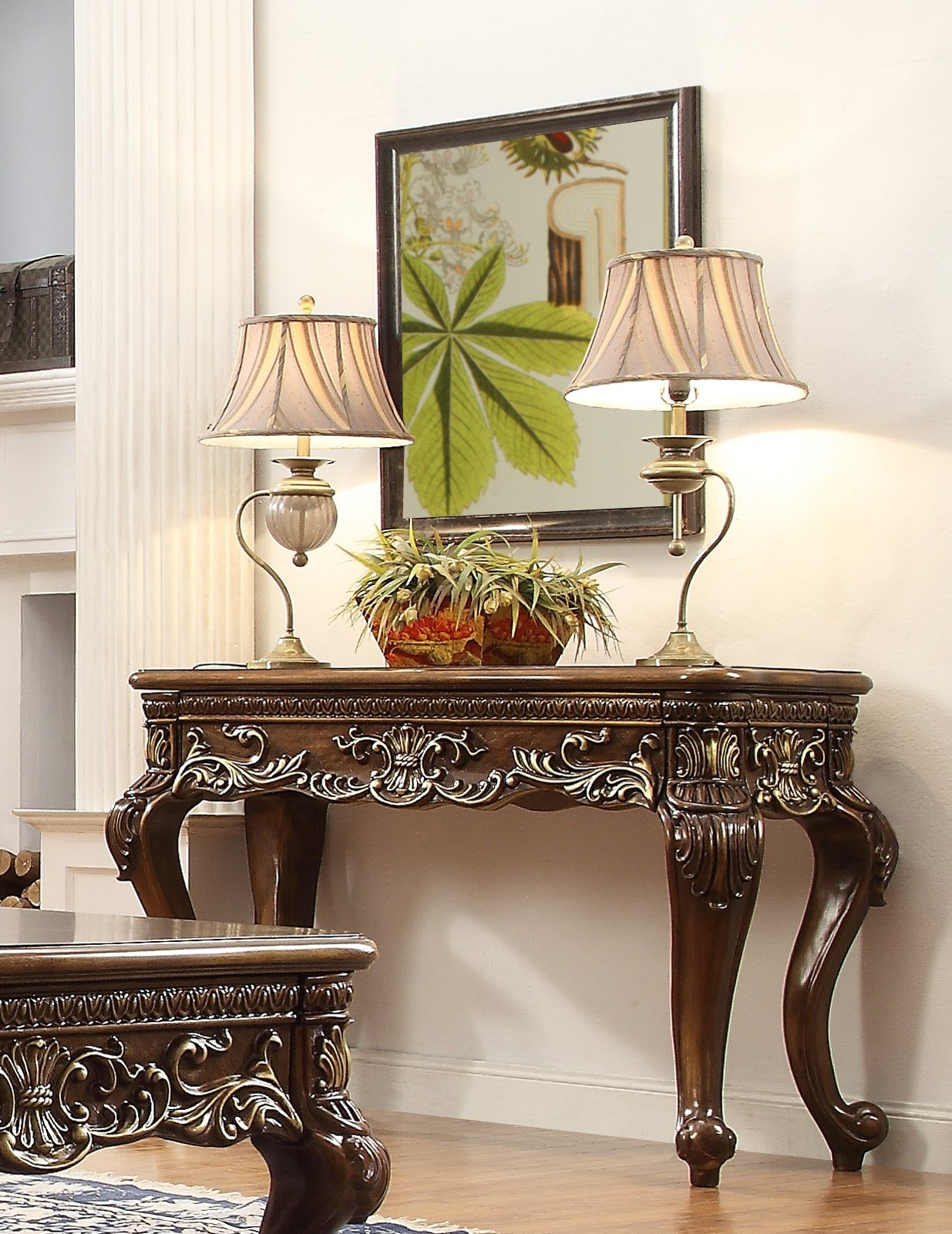 Traditional Console Table in Brown Wood Traditional Style Homey Design HD-1306