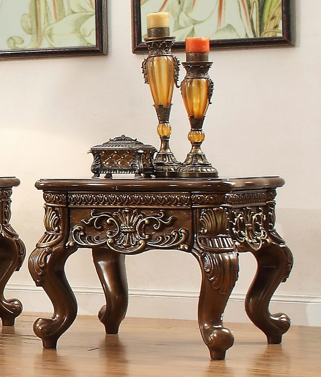 Traditional End Table in Brown Wood Traditional Style Homey Design HD-1306