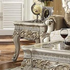 Traditional End Table in White Wood Traditional Style Homey Design HD-1469
