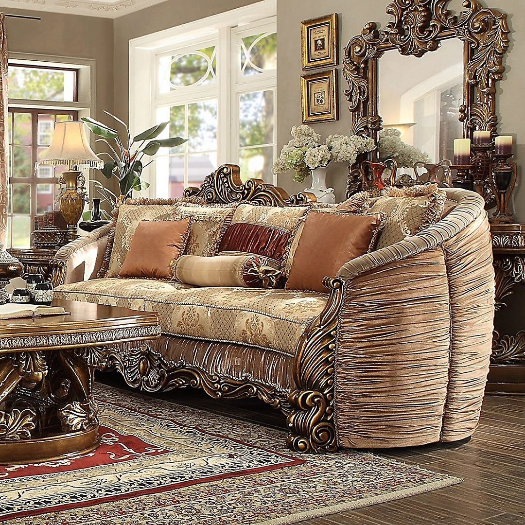 Traditional Sofa in Brown Fabric Traditional Style Homey Design HD-1601