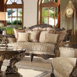 Traditional Loveseat in Brown Fabric Traditional Style Homey Design HD-1609