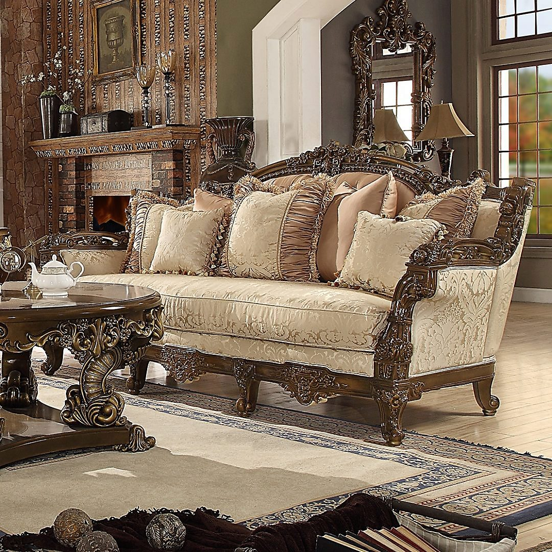 Traditional Sofa in Brown Fabric Traditional Style Homey Design HD-1609