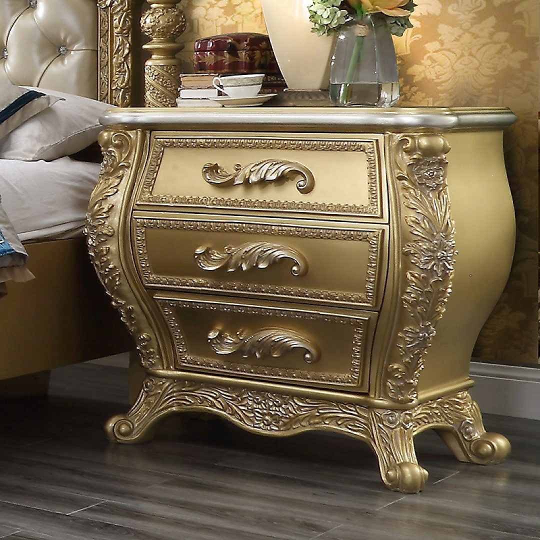 Traditional Nightstand in Brown Wood Traditional Style Homey Design HD-1801