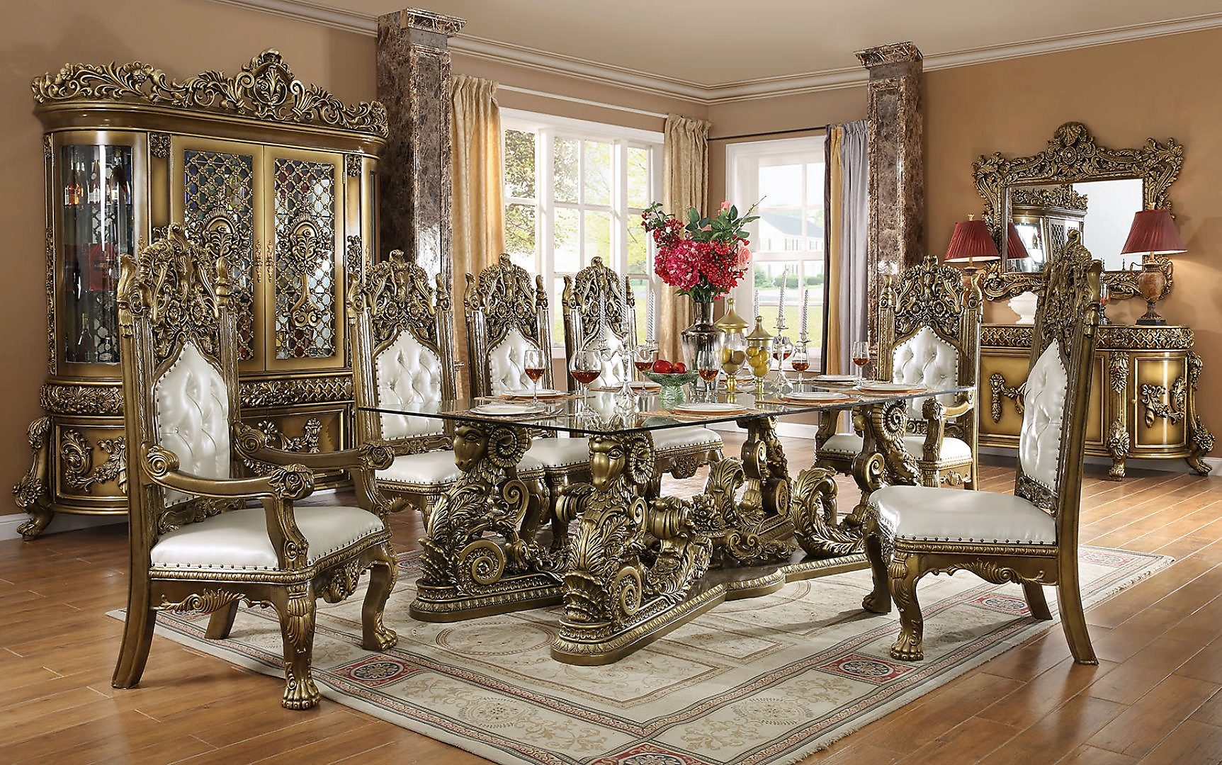 Traditional Dining Room Set 9 PCS in Brown Leather Traditional Style Homey Design HD-1802