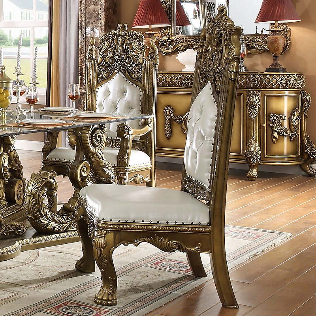 Traditional Dining Side Chair in Brown Leather Traditional Style Homey Design HD-1802