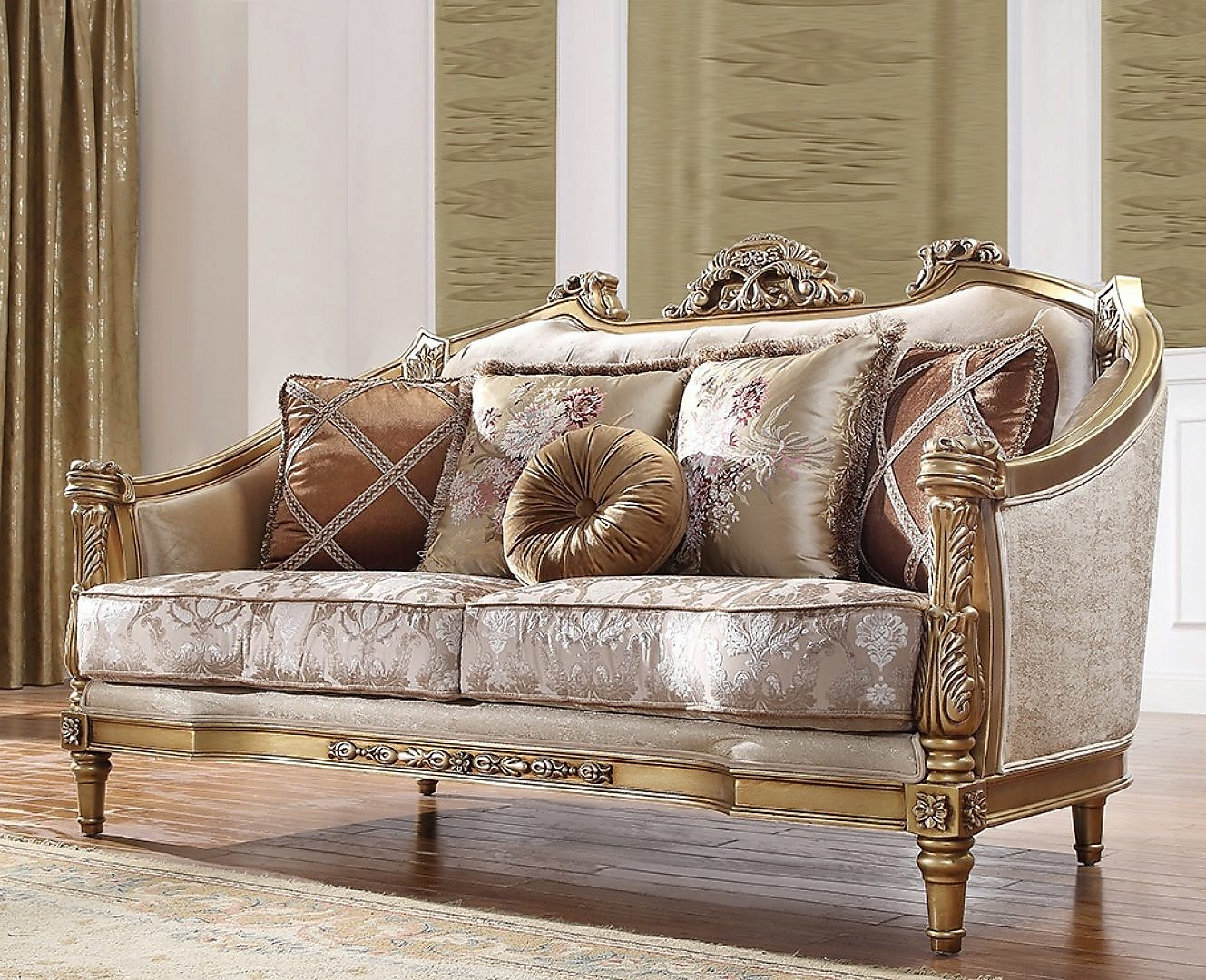 Traditional Loveseat in Beige Fabric Traditional Style Homey Design HD-2019