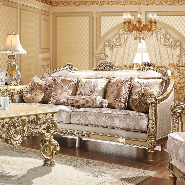 Traditional Sofa In Beige Fabric, Traditional Sofas Living Room Furniture