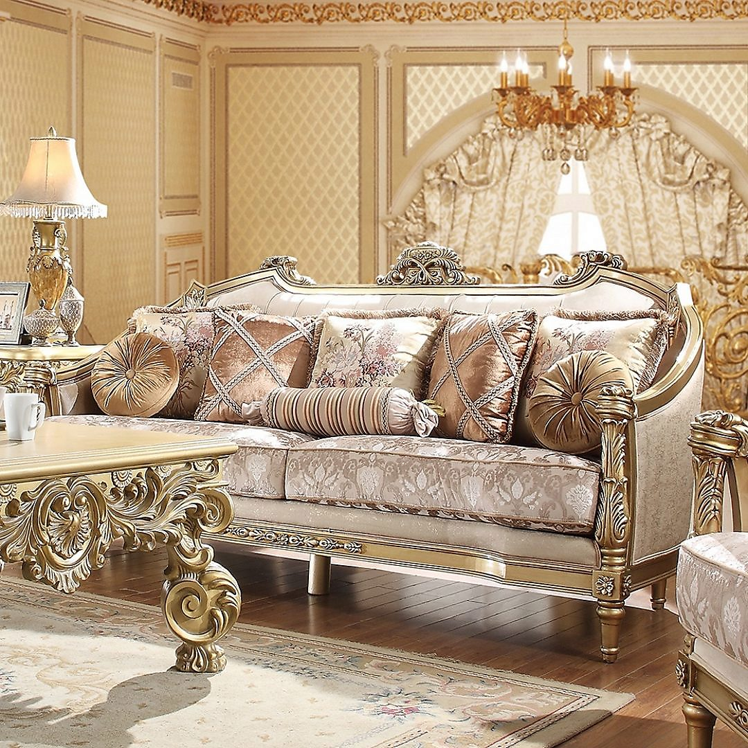 Traditional Sofa in Beige Fabric Traditional Style Homey Design HD-2019