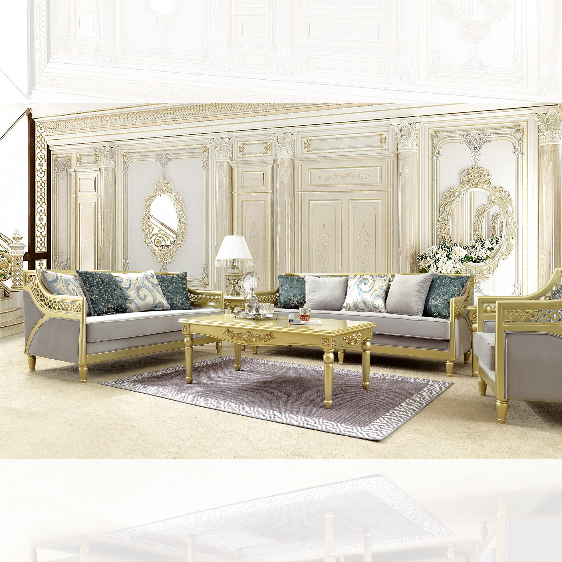 Traditional Living Room Set 3 PCS in Yellow Fabric Traditional Style Homey Design HD-2063