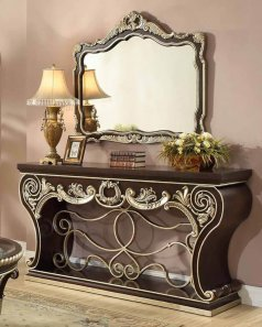 Traditional Console Table in Brown Wood Traditional Style Homey Design HD-213