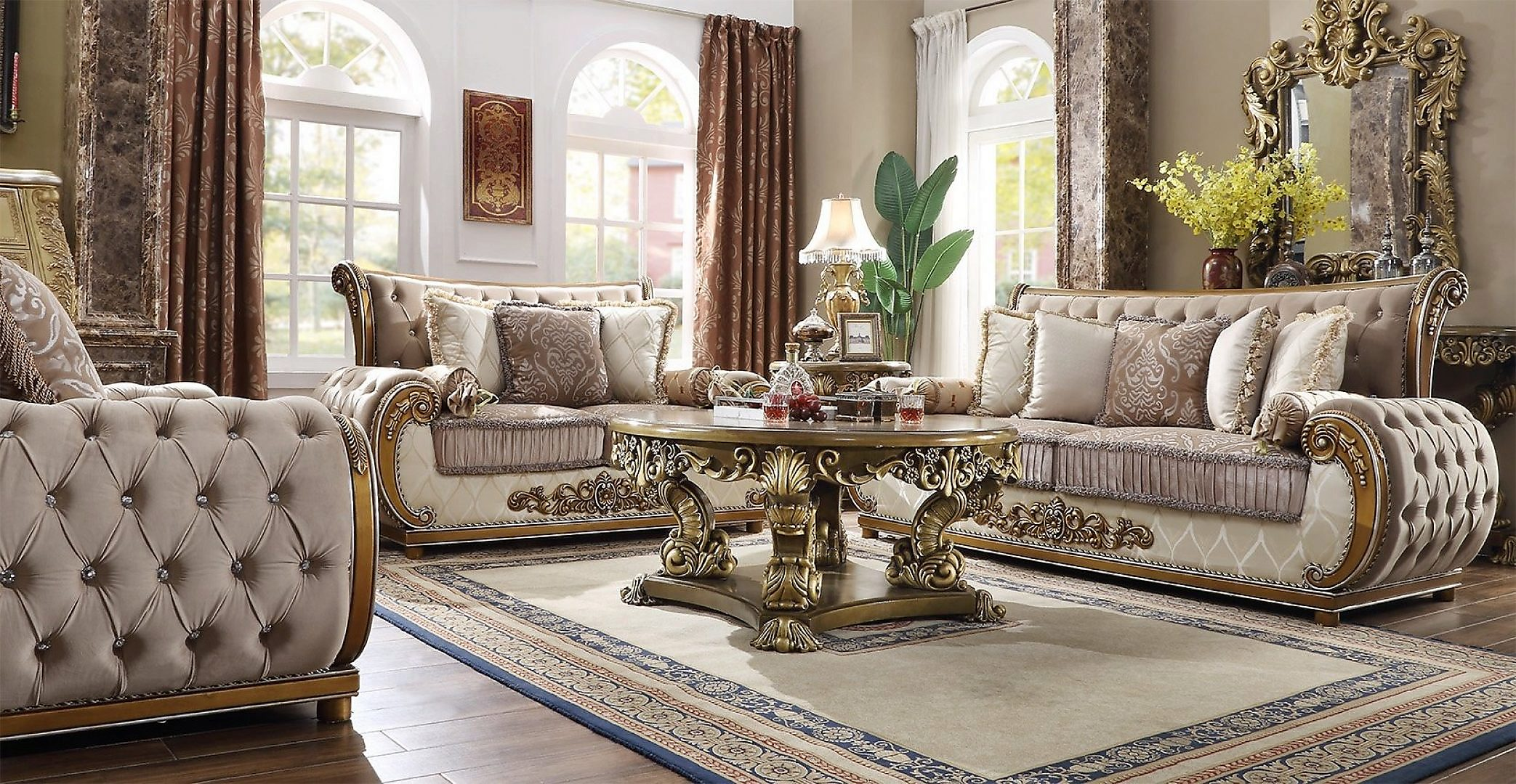 Traditional Living Room Set 3 PCS in Brown Fabric Traditional Style Homey Design HD-25