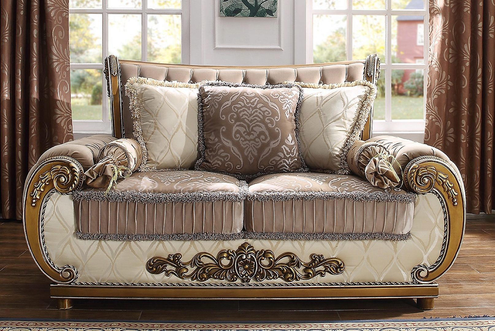 Traditional Loveseat in Brown Fabric Traditional Style Homey Design HD-25