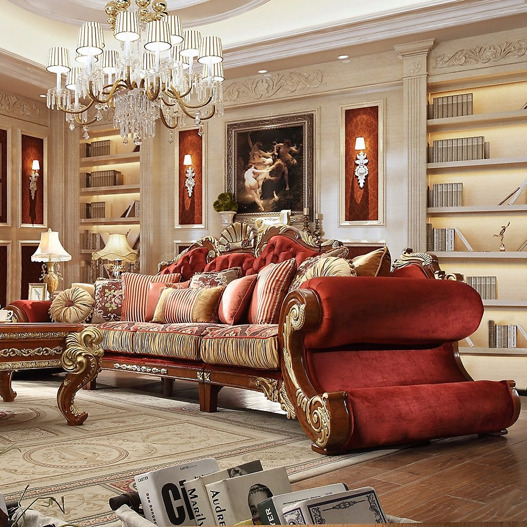 Traditional Sofa in Brown Fabric Traditional Style Homey Design HD-2575